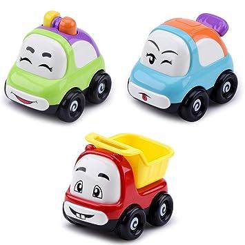 dichi coche juguetes, mini dibujos animados Cara sonriente fricción ...