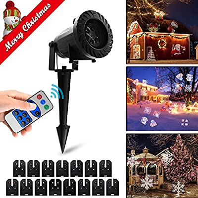 Light Projector, QWER Motion Light Projector with RF Remote Control, 15 Slides Dynamic Lighting, Bright LED Landscape Spotlight for Party, Thanksgiving Decoration