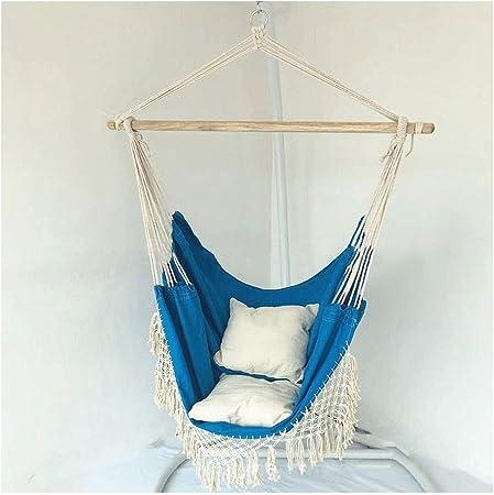 KOREY Interior | Exterior Silla Colgante Algodón Colgante Silla Hamaca para Dormitorio para Adultos Sala De Estar Jardín Bar Patio Patio Porche (Color : Blue Chair+Cushion): Amazon.es: Hogar