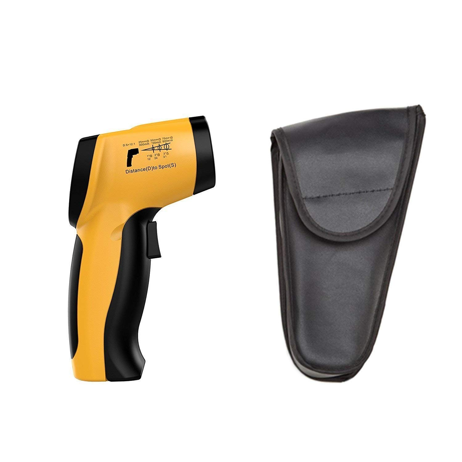 Dr -50 ~ 650 /°C//-58 /°F~1202 /°F 9V Battery included IR-20 Meter Lasergrip Dual Laser Non-contact Digital IR Infrared Thermometer Temperature Gun Yellow