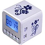Haoponer Portable Mini Digital Display Screen Speaker USB Flash Drive Micro SD/TF Card Music MP3 Player FM Radio Blue and white porcelain plastic White/Blue-1
