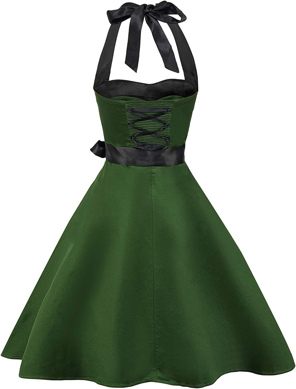 con allacciatura al collo Zarlena Rockabilly Vestito vintage con fantasia a pois