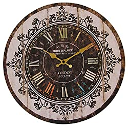 JustNile Rustic Country-Style Round Wall Clock - 13-inch Colorful Roman Numerals