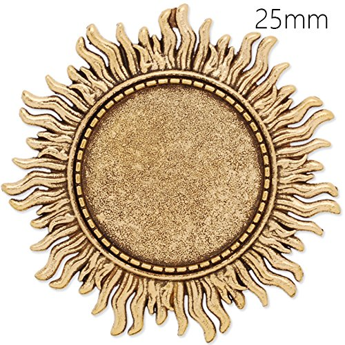 (10pcs Antique Gold Plated Sun Shape Brooch Blanks with 25mm Round Bezel-Safety Pin Fastening)