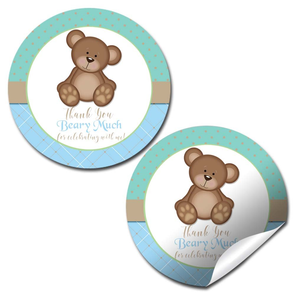 Teddy Bear Boy Birthday Party Thank You Sticker Labels, 20 2'' Party Circle Stickers by AmandaCreation, Great for Party Favors, Envelope Seals & Goodie Bags