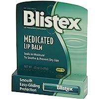 Blistex Medicated Lip Balm, SPF 15, .15 oz (Pack of 12)