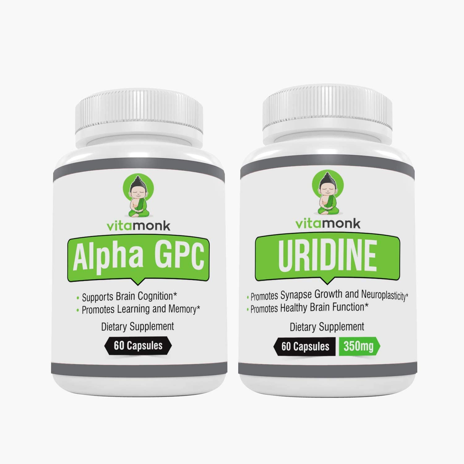 Alpha GPC and Uridine Stack – Mr Happy Stack – Uridine Monophosphate with No Artificial Fillers – Bioavailable Choline Supplements Promote Cognition, Focus, Mental Clarity and Dopamine Receptor Health