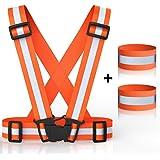 MANLERSPORT Einstellbare High Visibility Elastic Reflektierende Sicherheitsweste Perfekt für Laufen, Joggen, Radfahren, Wandern, Motorrad Fahren, Lauf Gang Around