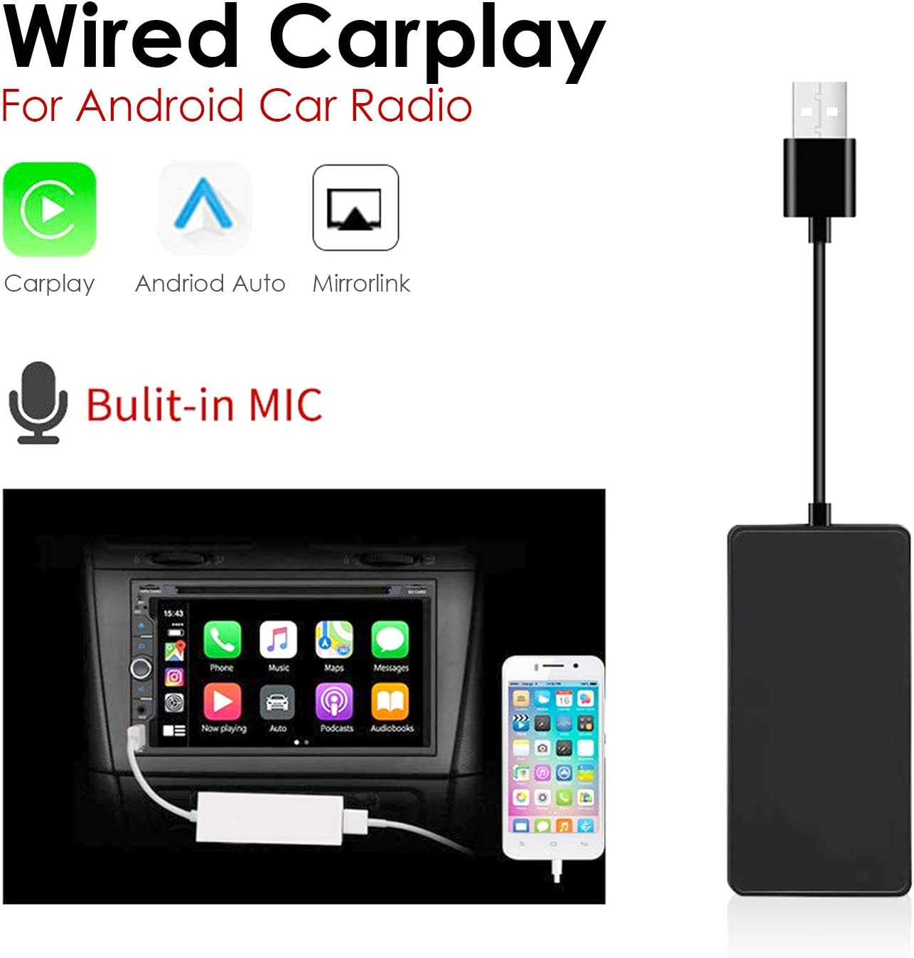 White Mirror Screen//SIRI//Voice Control//Maps//Online Upgrade Dongle heypower Wired USB CarPlay Dongle Android Auto for Car Radio with Android Head Unit