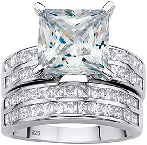 Amazon Com Vecalon 2pcs White Gold Filled Ring Set Princess Cut