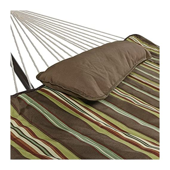 Sunnydaze Cotton Rope Freestanding Hammock with 12 Foot Portable Steel Stand and Spreader Bar, Pad and Pillow Included, Desert Stripe - SPACE SAVING SIZE: Patio hammock is 144 inch long x 52 inch wide, weighs 36 pounds. Hammock bed is 76 inch long x 52 inch wide. EVERYTHING IS INCLUDED: Outdoor hammock set is weather-resistant and includes a 12 ft stand frame, polyester sleeping pad, and a comfortable pillow. EASY ASSEMBLY: Camping hammock comes with two metal hanging chains and two metal O-rings making it easy to set up as soon as it arrives. - patio-furniture, patio, hammocks - 61URYfU9QyL. SS570  -