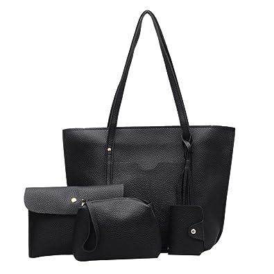 b3908b1b2e Sale Clearance Women Handbag Halijack 4Pcs Womens Tassel Leather Handbag+Crossbody  Bag+Messenger Bag