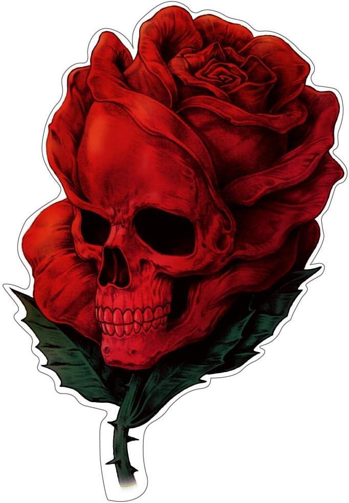 Rose Skull Aufkleber Sticker Schädel Totenkopf Blumen Autoaufkleber Rosen Jdm Tuning Stickerbomb Ca 12x8 Cm Auto