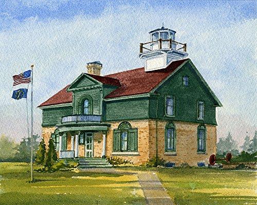 Old Michigan City Lighthouse, Lake Michigan, Indiana. Matted Watercolor Art Prints - Lighthouse City Place Michigan