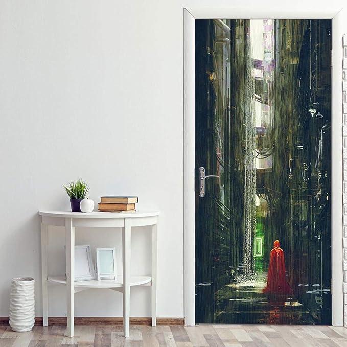 Zhoudd 3D puerta 77x200cm Mural Papel Tapiz PVC Adhesivo Fotográfico Vinilos Puerta Pegatina Pared Murales para Cocina Sala de Baño Decorativos Chubasquero rojo callejón: Amazon.es: Bricolaje y herramientas