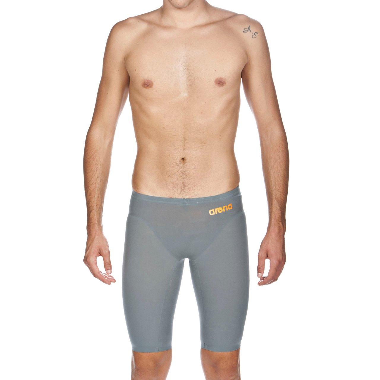 arena Powerskin R-EVO One Men's Jammer Racing Swimsuit, Grey / Bright Orange, 28 by ARENA