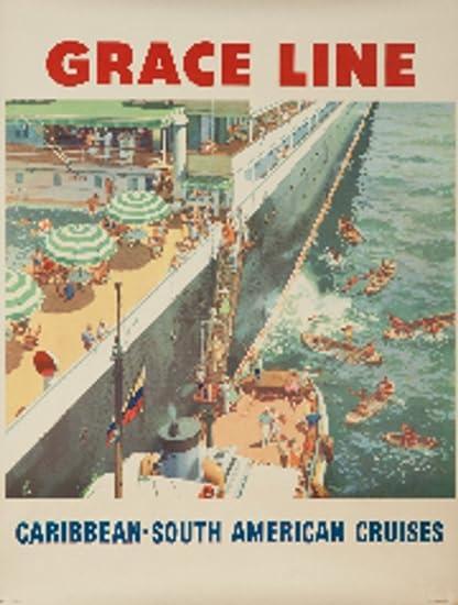 Amazon com: Grace Line Vintage Poster c  1952 (12x18 Art