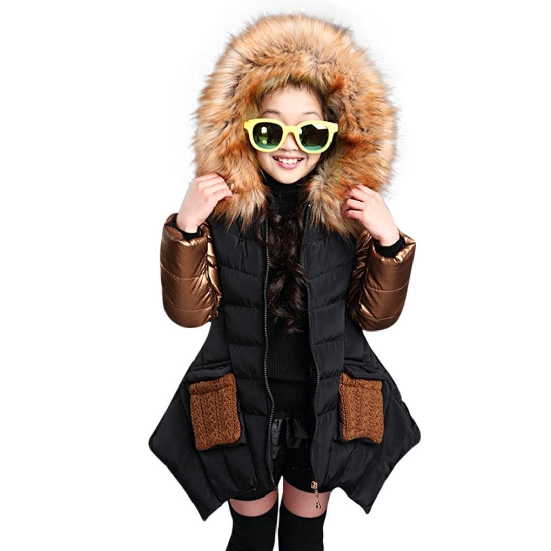 Gotd Child Little Girl Winter Cotton Hooded Coat Jacket Thick Warm Zipper Outwear Clothes (9T(8-9 Years), Black)