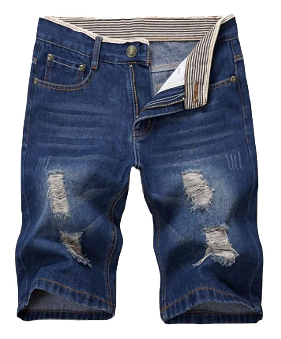 Esast Men Summer Ripped Short Jeans Casual Denim Shorts with Hole