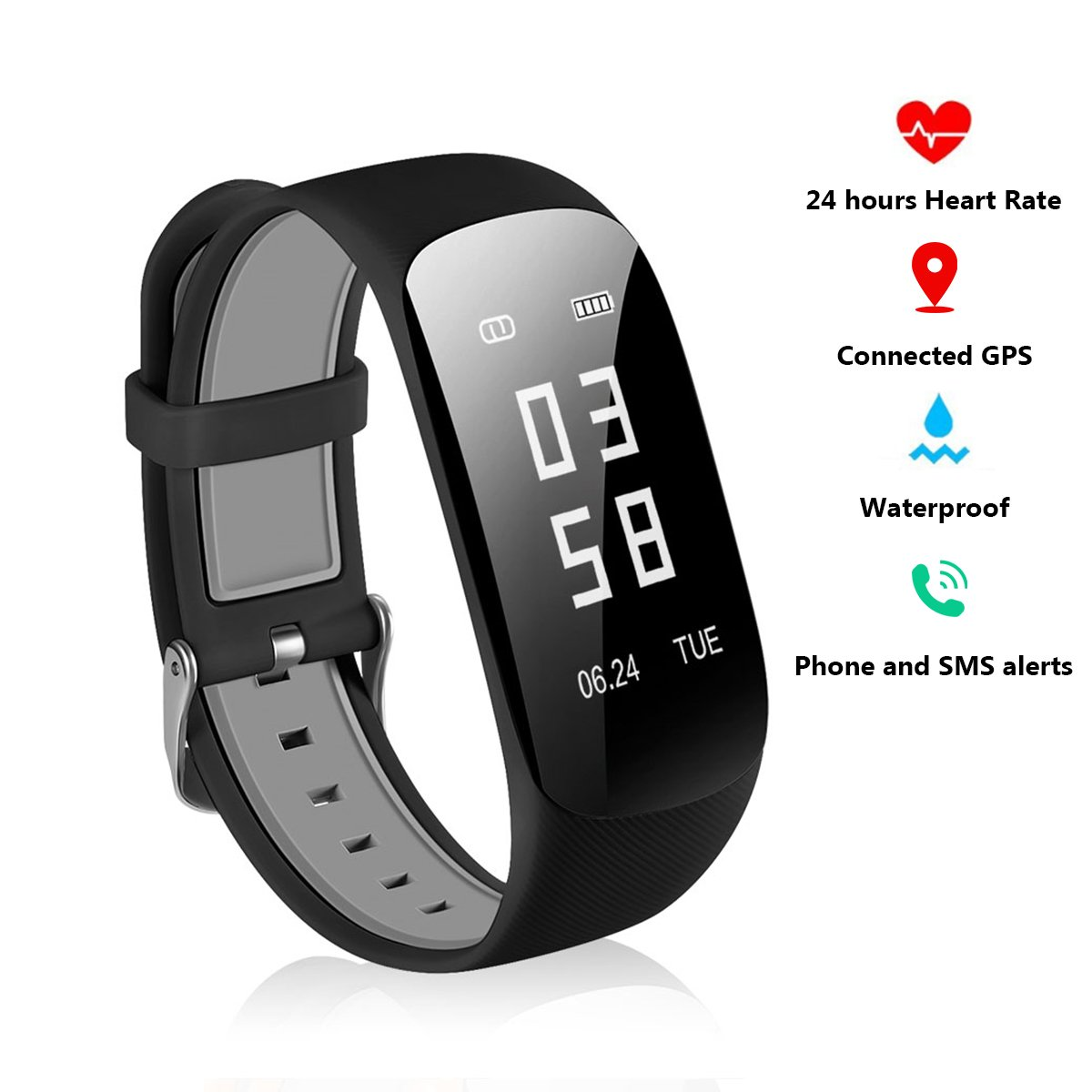 YOFAPA Fitness Tracker Activity Tracker - 24 Hours Heart Rate Monitor Watch IP67 Waterproof Smart Bracelet with Sleep Monitor Pedometer Fitness Sports Watch Bluetooth Wristband for Android and iOS
