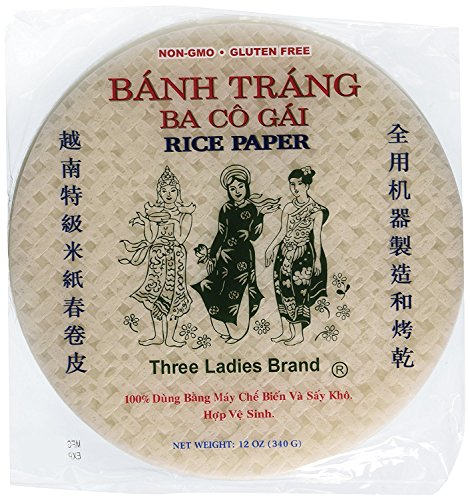 Vietnam Paper - Three Ladies Spring Roll Rice Paper Wrappers Round 25cm (3pks)