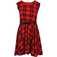 Rimi Hanger Womens Sleeveless Belted Skater Dress Ladies Short Fancy Flared Party Mini Dress Small/XXX Large