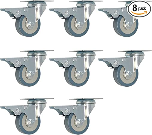 12 pack 2-Inch 200-Pound Swivel Lock Brake Polyurethane Plate Caster wheel