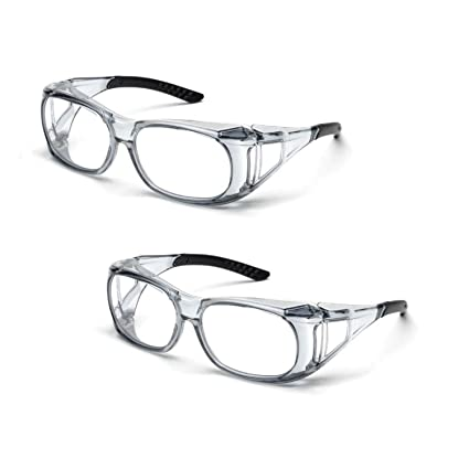 5f01ed462f0 Elvex SG-37C OVR-Spec II Over-The-Glass Protective Eyewear Safety Glasses  Clear Lens (2 Pair) - - Amazon.com
