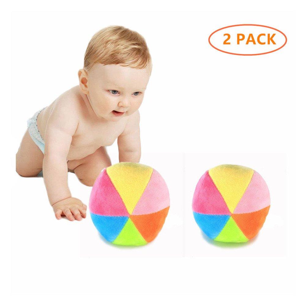Zah 2pcs Baby Rattle BallsおもちゃMiniカラフルぬいぐるみボールの新生児乳児幼児かわいい小さなレインボーボールとベル   B07BZP6N5N