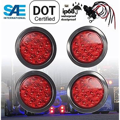 "SET OF 4 AutoSmart KL-25108RK 4"" ROUND LED STOP TURN TAIL RED LEN LIGHTS INCLUDES LIGHTS, GROMMET, PLUG FOR TRUCK TRAILER: Automotive"