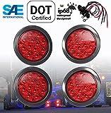 """SET OF 4 AutoSmart KL-25108RK 4"""" ROUND LED STOP TURN TAIL RED LEN LIGHTS INCLUDES LIGHTS, GROMMET, PLUG FOR TRUCK TRAILER"""