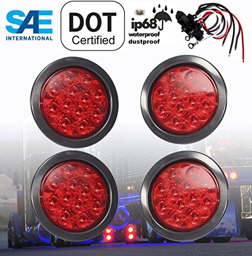 SET OF 4 AutoSmart KL-25108RK 4 ROUND LED STOP TURN TAIL RED LEN LIGHTS INCLUDES LIGHTS, GROMMET, PLUG FOR TRUCK TRAILER