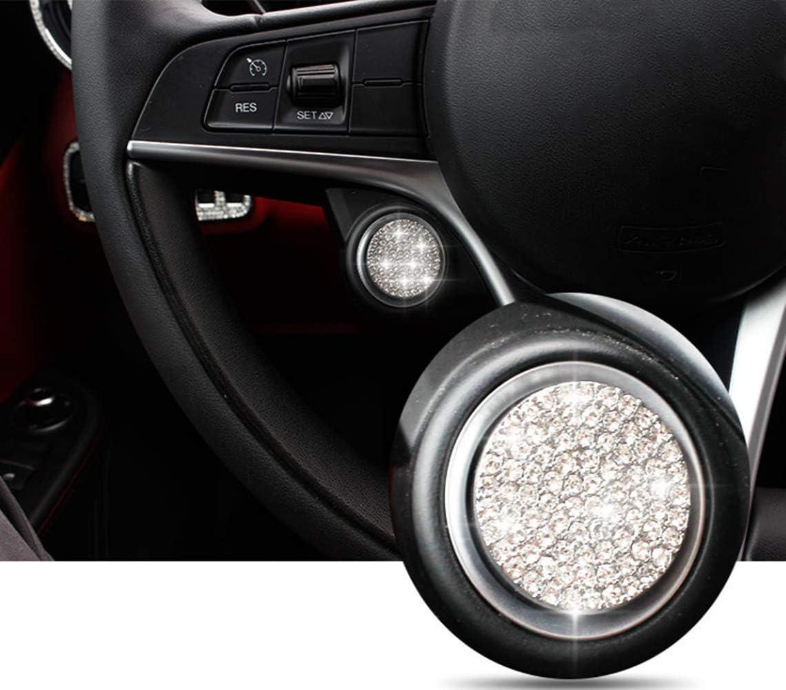 Fit for Alfa Romeo Automotive interior Modification Bling Metal Accessories Giulia Stelvio Automotive interior Rhinestone Applique Ladies Bling Accessories air conditioner volume control knob//3PCS