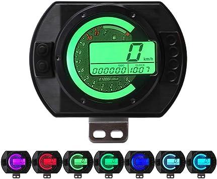 Motorrad Tachometer Tacho Kilometerz/ähler Digitaler LCDTachometer Tachometer /Ölstand Messger/ät 7 Farbanzeige
