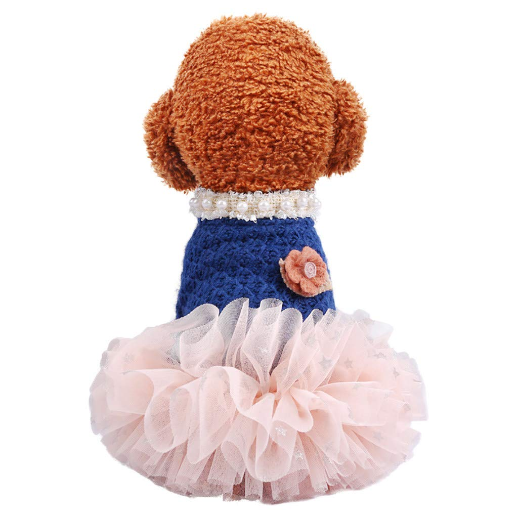 Cute Puppy Flower Tutu Dress,vmree Girls Dog Clothing Princess Style Pet Skirt Fashion Apparel Winter Fall Cat Warm Clothes (Blue, S) by u.vmree
