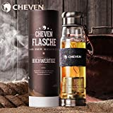 CHEVEN Premium Tea Infuser Tumbler & Glass Water Bottle 20ozBorosilicate Glass with Spill-proof Stainless Lid&StrainerStylish Denim Insulated Thermo Sleeve and Travel Sleeve (Courage)