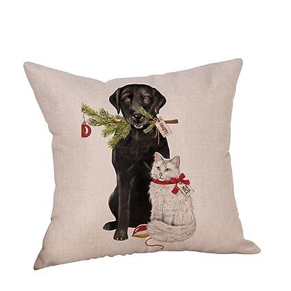 dragon868 Navidad perro Lino Cojín Cubierta fundas Sofá cama casa decoración cojín