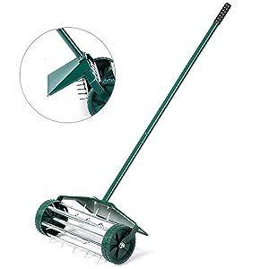Rolling Lawn Aerator 18-inch Garden Yard Rotary Push Tine Heavy Duty Spike Soil Aeration, 50-in Handle (Green w/Fender)