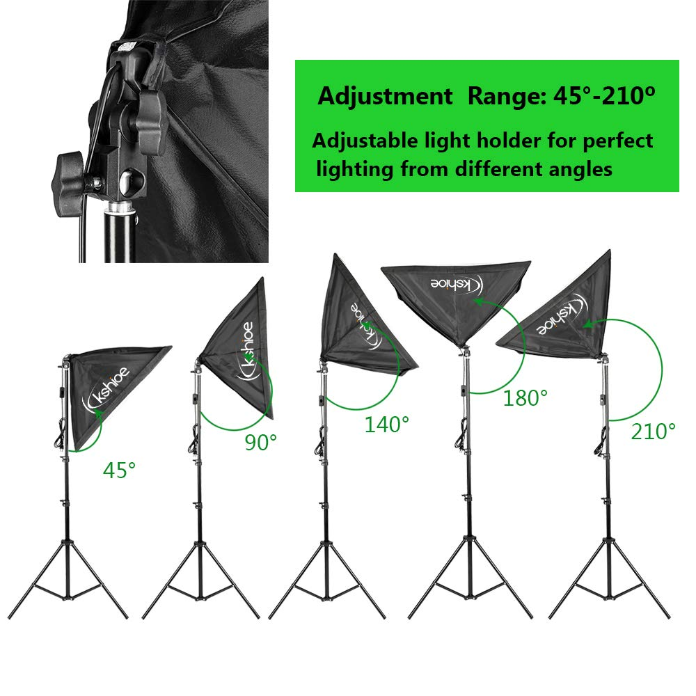 Kshioe Photography Lighting Kit, Umbrella Softbox Set Continuous Lighting with 6.5ftx9.8ft Background Stand Backdrop Support System for Photo Studio Product, Portrait and Video Shooting by Kshioe (Image #2)