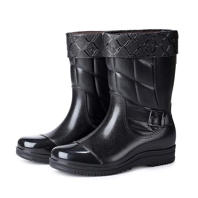 Darringls_Zapatos de hombre,Botas de Lluvia Botas Impermeables Antideslizante Botas Cortas y Brillantes Botas Casuales para hombreBotines de Hombre: ...