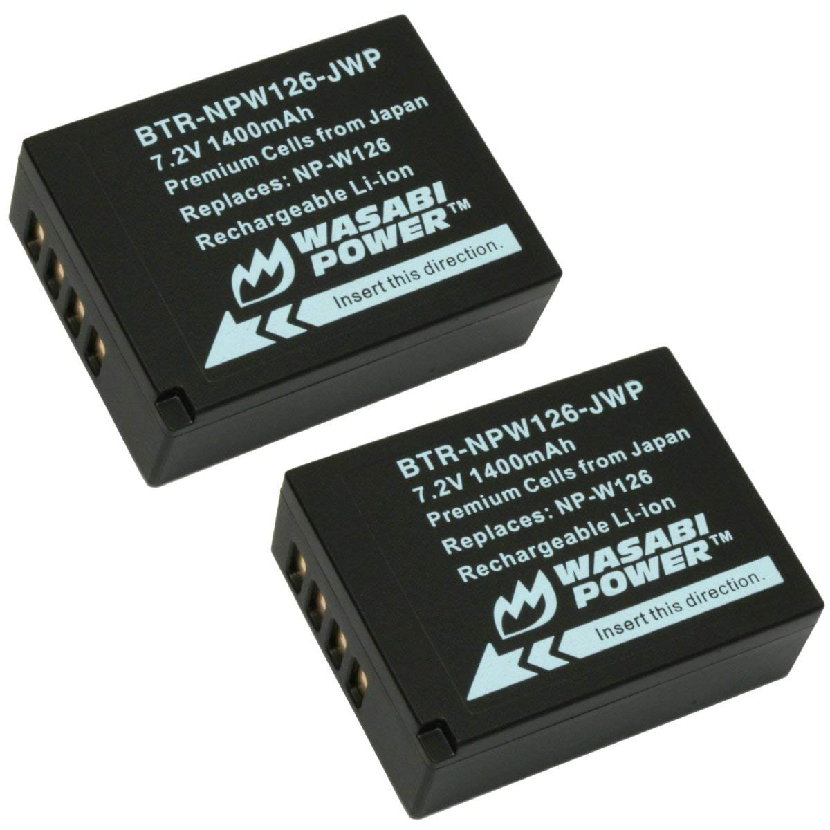 2-Pack Wasabi Power Battery for Fujifilm NP-W126 NP-W126S