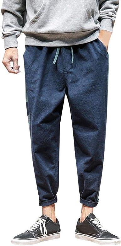 Pantalones Largos para Hombre, Moda Hombres Casual sólidos ...