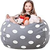 WEKAPO Stuffed Animal Storage Bean Bag Chair Cover for Kids | Stuffable Zipper Beanbag for Organizing Children Plush Toys | 3