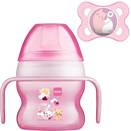 MAM Set - Starter Cup Animal 150ml Vaso de aprendizaje 4+ Meses + MAM Original Chupete (Color: Rosa)