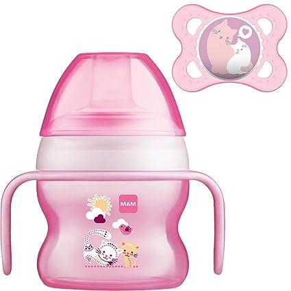 MAM Set - Starter Cup Animal 150ml Vaso de aprendizaje 4+ Meses + MAM Original Chupete (Color: Rosa)