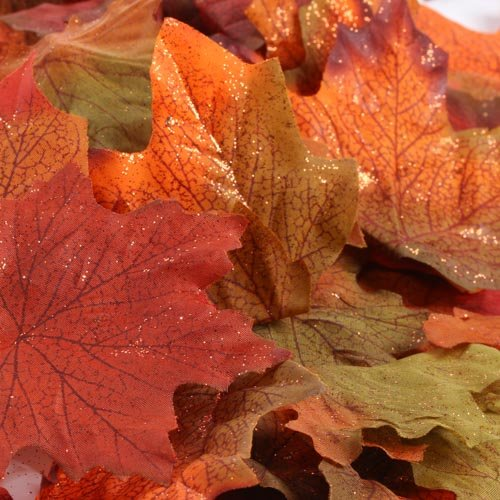 Factory Direct Craft Autumn Splendour Artificial Maple Leaves Accented with Copper Glitter for Fall (Glitter Leaves)
