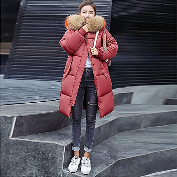 ❤ Abrigo Largo para Mujer Invierno, Cálido Faux Fur con Capucha Cremallera Gruesa Cuello Alto de Piel Cálida Chaqueta Delgada Abrigo Largo Abrigo ...