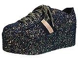 BAMBOO Women's Lace-Up High Platform Sneaker, Black Glitter, 7.0 B (M) US