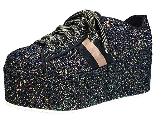 Bamboo Women's Lace-Up High Platform Sneaker, Black Glitter, 5.5 B (M) US (Platform Shoe Womens)