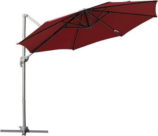Outsunny Parasol Excéntrico Sombrilla Inclinable Φ2.94x2.48M con Manivela Tela de Poliéster Resistente a UV para Jardín Patio Playa Piscina Terraza Grande y Estable: Amazon.es: Jardín